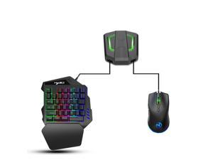 One-handed gaming keyboard and mouse combination, 35-key PUBG keycap version wired mechanical RGB LED backlit half keyboard, support wrist rest, USB wired gaming mouse, game conversion adapter