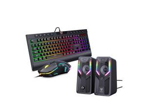 ONIKUMA ergonomic laptop gaming keyboard, RGB backlit 104-key kit and wired gaming mouse, and G6 speakers