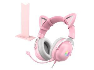ONIKUMA  PS4 Headset, Xbox One Headset And Its Surround Sound LED Lightweight Headset, Headset Game For PS4, Xbox One, PC, Nintendo, Laptop Pink
