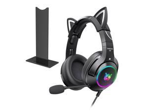 Onikuma K9-Game noise-cancelling headphones with microphone, cute cat ears, black, with LED light