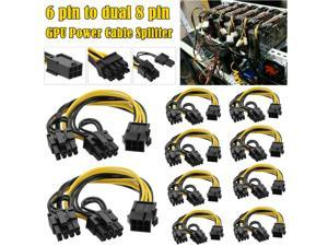 10 PCS PCIE 6 Pin Female To Dual PCI-E 8 Pin 6+2 Male GPU Power Cable Splitter