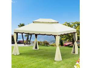 10x13ft Gazebo Canopy Garden Shelter Double Tier Roof Shelter Aluminum w/Netting