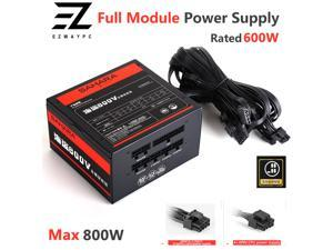 SAHARA PC Gaming Power Supply 800W Max Full Module PSU Rated 600W 24PIN 12V ATX Computer Bitcoin Miner ETH Coin Mining Ethereum