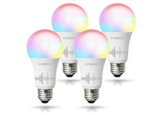 Smart WiFi Alexa Light Bulb, LUMIMAN LED RGBCW Color Changing Bulbs Works with Alexa, Echo, Google Home & Siri, 2.4GHz WiFi Only, No Hub Required, A19 E26 Multicolor (4 Pack)