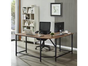 """59"""" L-Shaped Desk, Computer Corner Desk Study Table Workstation for Home Office Wood & Metal, Walnut"""