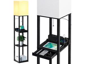 SUNMORY Floor Lamp with Shelves,Modern Dimmable Solid Wood Standing Lamp Both with 1 Drawer and 2 USB Ports & 1 Power Outlet,Corner Tall Bookshelf Lamp for Living Room and Bedroom
