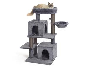 45 Inches Multi-Level Cat Tree with Sisal-Covered Scratching Posts, Replaceable Dangling Ball, Hammock and Condo for Large Cats