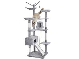 """75"""" All-in-One Large Cat Tree Cat Condo with Hammock, Interactive Toys, Two Perches, One Roomy House and Scratching Pad"""