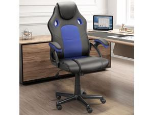 Ninecer Ergonomic Gaming Chair Blue, High Back Racing Style Cheap Office Chair, Comfortable Armrest PU Material Height Adjustable Adult/Teens Silent Roller (Blue)