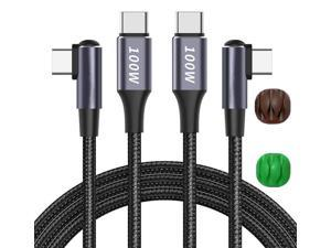 USB C to USB C Cable 100W 6.6ft, Right Angle USB Type C Cable 2 Pack,New Nylon USB C Charging Cable for Samsung Galaxy S20 S10 S9 S8 Plus Note 10 LG Google Pixel Moto etc