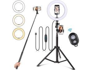10.2 inch Selfie Ring Light with 63in Tripod Stand, led Selfie Ring Light with Phone Holders for Live Stream/Makeup/YouTube Video/TikTok,Compatible with All Phones
