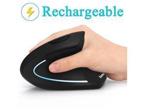 Ergonomic Mouse, LEKVEY Vertical Wireless Mouse - Rechargeable 2.4GHz Optical Vertical Mice : 3 Adjustable DPI 800/1200/1600 Levels 6 Buttons, for Laptop, PC, Computer, Desktop, Notebook Black