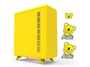 GOLDEN FIELD Q3056 Small Form Factor Mini-ITX PC Case, Computer Case with Bottom ARGB Lighting Strip Yellow