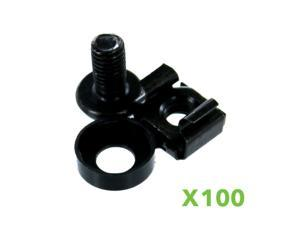 100 Pack Lot - M6 Rack Mount Cage Nuts  Screws w/Washers - Square Clips Server