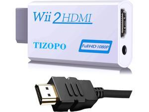 Wii to HDMI Converter, Wii HDMI Adapter 1080P Output Video Audio with 5ft High Speed HDMI Cable&3.5mm Audio Jack, Compatible with Full HD Devic, Supports All Wii Display Modes 720P, NTSC