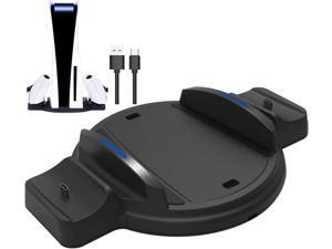 PS5 Stand, PS5 Vertical Stand for PS5 Console Ultra HD & Digital Edition, Dualsense Charging Station Dock for Sony Dual PS5 Controllers witch LED Indicator and USB Type C Charger Cord - Black