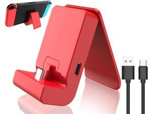 Switch Stand for Nintendo,Charging Dock for Nintendo Switch and Nintendo Switch Lite,Portable Switch Adjustable Charging Stand for Nintendo with USB Type C Charger Port & USB C Charging Cable(Red)
