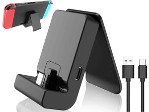 Switch Stand for Nintendo,Charging Dock for Nintendo Switch and Nintendo Switch Lite,Portable Switch Adjustable Charging Stand for Nintendo with USB Type C Charger Port & USB C Charging Cable(Black)