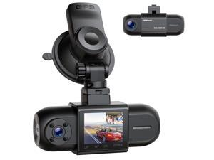 """CAMPARK Dual Dash Cam 1080P+1080P Car Camera Driving Recorder with GPS , WDR Night Vision, Parking Monitor, G-Sensor, 1.5"""" LCD Screen, Support 256GB"""