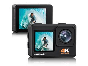 CAMPARK 4K 24MP Action Camera Underwater Waterproof Camera  with Dual Screen  4x zoom EIS  Wi-Fi 170° Wide Angle Lens