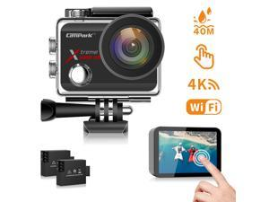 """CAMPARK X30 Action Camera 4K 60fps 20MP Waterproof Camera 2.0"""" Touch Screen WiFi Vlog Camera EIS Remote Control Sport Camera with 2 x 1350mAh Batteries and Accessories Kits"""