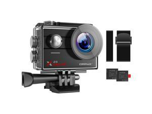 CAMPARK action camera 4K 30FPS 20MP Wifi waterproof 30M underwater camera, 170° wide angle, 2 * 1050mAh rechargeable battery and installation accessory kit