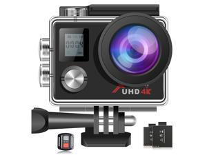"""CAMPARK ACT76 Action Camera 4K WiFi Ultra HD Sports Cam Waterproof EIS Remote Control 2"""" Screen Vlog Camera with 2 x 1050mAh Batteries and Accessories Kits"""