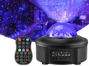VOLADOR Night Light Projector with Remote Control, Galaxy Starry Projector Ocean Wave LED Ambiance Light with 44 Lighting Modes Bluetooth Music Speaker for Kids Bedroom Home Theatre Party