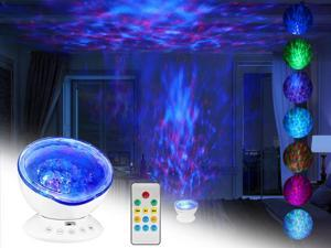 VOLADOR Ocean Wave Projector, Remote Control Undersea Lamp 7 Color Changing Music Player LED Night Light Projector for Kids Adults Bedroom Living Room Decoration