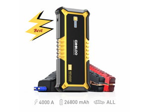 4000A Peak GOOLOO SuperSafe Car Jump Starter (All Gas, up to 10.0L Diesel Engine) 12V Auto Battery Jumper Booster + USB Quick Charge and Type C Port, Portable Power Pack for Trucks, SUVs