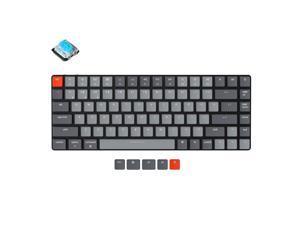 Keychron K3 V2 84 Keys Ultra-Slim Wireless Bluetooth/USB Wired Mechanical Keyboard with White LED Backlit, Low-Profile Gateron Mechanical Blue Switch Compatible with Mac Windows
