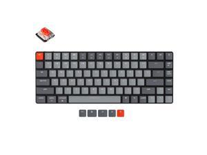 Keychron K3 V2 84 Keys Ultra-Slim Wireless Bluetooth/USB Wired Mechanical Keyboard with White LED Backlit, Low-Profile Gateron Mechanical Red Switch Compatible with Mac Windows