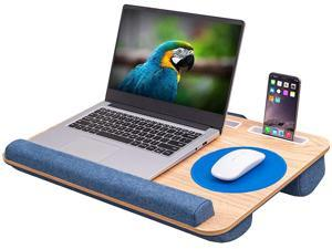 Oversized Lap Desk with Cushion - Home Office Laptop Lap Desk Fits up to 17 inch Laptops, Built-in Mouse Pad and Wrist Rest for MacBook and Notebook, with Slots for Phone and Tablet