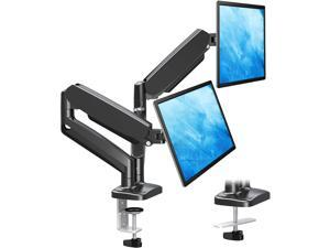 Dual Monitor Stand, Fully Adjustable Gas Spring Dual Monitor Mount, Monitor Desk Mount with C Clamp, Grommet Mounting Base, Double Monitor Arm for 2 Computer Screen up to 32 Inch, MU0005