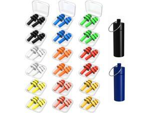 Earplugs for Sleeping, 18 Pairs Silicone Ear Plugs for Swimming with Aluminum Carry Case Noise Reduction for Learning, Hearing Protection, Concerts, Airplanes, Shooting for Woman, Man, Kids