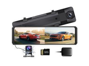 """AZDOME 1296P Mirror Dash Cam, 11"""" IPS Full Touch Screen Front and Rear View Mirror Camera, 1080P Waterproof Backup Camera, Dual Dash Camera for Cars, Night Vision, Parking Monitor, 32GB Card & GPS"""