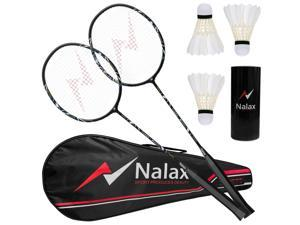 Badminton Set, 2 Player Badminton Rackets Professional Graphite High-Grade Badminton Racquet with 3 Nylon Shuttlecocks and 1 Carrying Bag for Outdoor Backyard Games Perfect for Adults Kids
