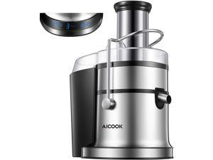 """Juicer with LCD Display, AICOOK 800W Juice Extractor with 5 Settings, Wide Mouth 3"""", Silver"""