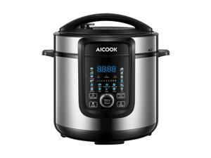 AICOOK 18-in-1 Pressure Cooker, 6 Quart, Slow Cooker, Rice Cooker, Soup Maker, Steamer, Saute, Multi-Use Programs, 9 Accessories and Recipe Included