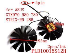 POWER LOGIC PLD10015S12H 2pcs/lot 93mm 12V 0.55A 5Pins for ASUS GTX970 980 780 STRIX-R9 285 Graphics card fan