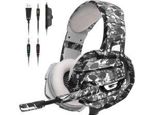 White Gaming Headset Gaming Headphone with 360° Adustable Noise Canceling Microphone, Led Light and Over Ear Memory Earmuff for PS4, PS5, PC