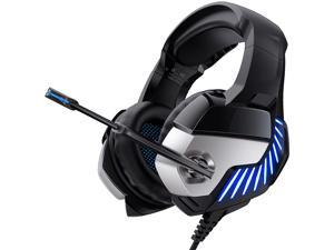 Gaming Headset with Noise Canceling Mic and Blue LED Light 7.1 Stereo Surround Sound Over Ear Headphones for PS4 PC Xbox One Controller (Adapter Not Included)