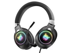 Foldable Gaming Headset Compatible with PS5 PS4 PC Mobile Phone Tablet Xbox One(Adapter Not Included), with Detachable Noise Canceling Mic, Surround Sound, RGB Light, 3.5mm & USB C Plug