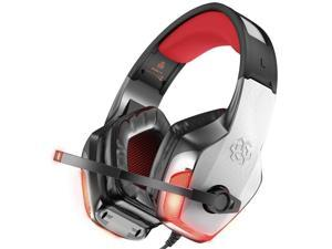 Hunterspider Gaming Headset Noise Canceling Headphone with Microphone LED Light for PS4 Nintendo Switch Xbox One PC and Sony PSP (Adapter Not Included)