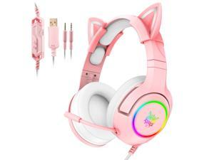 ONIKUMA K9 3.5mm Wired Gaming Headset Removable Cat Ears Headphones Noise Canceling E-Sports Earphone with Microphone RGB LED Light Control Mute Mic for PC Smart Phone