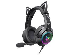 ONIKUMA K9 3.5mm Wired Gaming Headset Removable Cat Ears Headphones Noise Canceling E Sports Earphone with Microphone RGB LED Light Control Mute Mic for PC Laptop Smart Phone