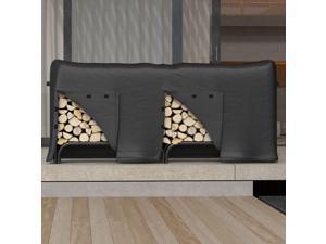 Gibson Living Heavy Duty 8 Foot Indoor Outdoor Black Water Resistant Firewood Log Rack Cover