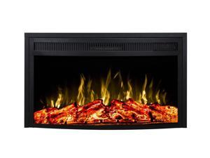 Gibson Living 28 Inch Curved Ventless Heater Electric Fireplace Insert with Multi-function Remote