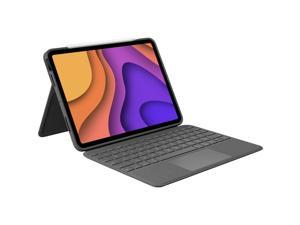 """Logitech Folio Touch Keyboard/Cover Case (Folio) Apple, Logitech iPad Air (4th Generation) Tablet - Oxford Gray - Scuff Resistant, Scratch Resistant, Spill Resistant - Woven Fabric - 10.1"""" Height"""