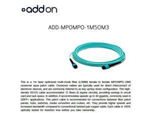AddOn 1m MPO (Female) to MPO (Female) 12-Strand Aqua OM3 Crossover Fiber OFNR (Riser-Rated) Patch Cable